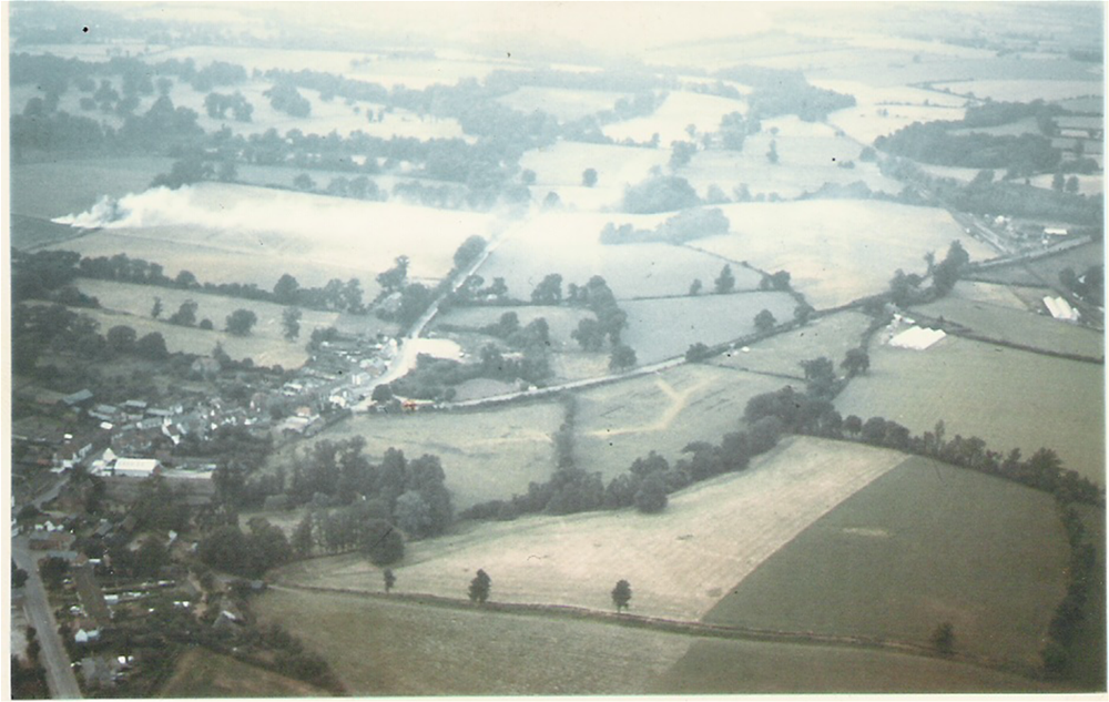 Aerial view of Puckeridge showing the Roman road
